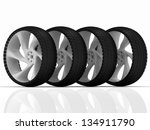 automobile tire and wheels on a ... | Shutterstock . vector #134911790