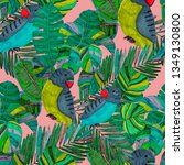 tropical birds seamless pattern.... | Shutterstock . vector #1349130800