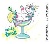 beautiful unicorn lying in a... | Shutterstock .eps vector #1349150093