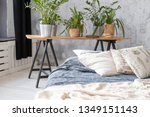 not made bed with pillows in... | Shutterstock . vector #1349151143