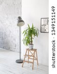 potted palm plant on a wooden... | Shutterstock . vector #1349151149