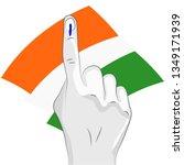 vote sign india flag hand | Shutterstock .eps vector #1349171939