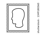 postal stamp line icon with man'... | Shutterstock .eps vector #1349180360