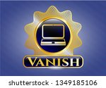 gold shiny badge with laptop... | Shutterstock .eps vector #1349185106
