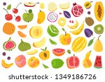 fruits isolated. cherry orange... | Shutterstock .eps vector #1349186726