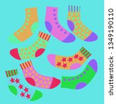 composition of socks with ... | Shutterstock . vector #1349190110
