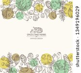 background with herbs and...   Shutterstock .eps vector #1349196029