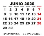 june month in a year 2020 wall... | Shutterstock .eps vector #1349199383