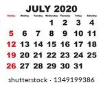 2020 calendar july month.... | Shutterstock .eps vector #1349199386