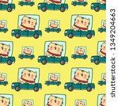 seamless pattern. cute cat...   Shutterstock .eps vector #1349204663