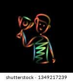 men holding up winning trophy ... | Shutterstock .eps vector #1349217239