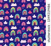 coloured rainbows seamless... | Shutterstock .eps vector #1349219486