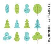 isolated flat vector trees set. ...   Shutterstock .eps vector #1349235356