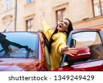 the girl rejoices in life and...   Shutterstock . vector #1349249429