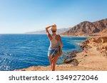 tourist woman in dahab near...   Shutterstock . vector #1349272046