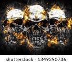 Three Metal Vampire Skulls  ...
