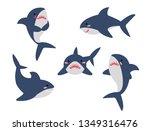 cartoon sharks in different... | Shutterstock .eps vector #1349316476