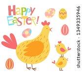 happy easter vector set. cute... | Shutterstock .eps vector #1349335946