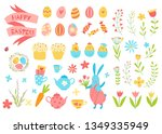 happy easter vector set. cute... | Shutterstock .eps vector #1349335949