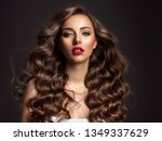 beautiful woman with long brown ... | Shutterstock . vector #1349337629