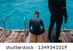 diving lesson in open water. | Shutterstock . vector #1349341019
