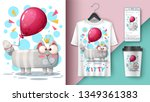 cat and balloon   mockup for...   Shutterstock .eps vector #1349361383