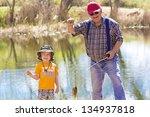 little boy and his grandpa... | Shutterstock . vector #134937818