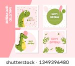 happy birthday square card set... | Shutterstock .eps vector #1349396480