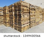 Stacks Of Wooden Pallets In A...