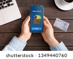 mobile banking. woman holding... | Shutterstock . vector #1349440760