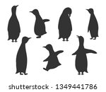 shadow penguins on white... | Shutterstock .eps vector #1349441786