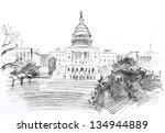 Stock photo pencil drawing of washington dc capitol with garden usa 134944889