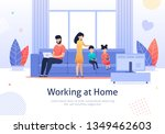 busy father working at home... | Shutterstock .eps vector #1349462603