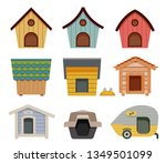various types of dog houses.... | Shutterstock .eps vector #1349501099