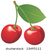 red cherry isolated on white | Shutterstock .eps vector #13495111