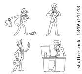 lineart vintage businessman... | Shutterstock . vector #1349514143