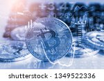 modern way of exchange. bitcoin ...   Shutterstock . vector #1349522336