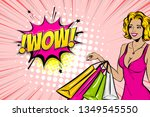 vintage pop art girl shopping.... | Shutterstock .eps vector #1349545550