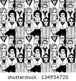 seamless pattern with hipsters.
