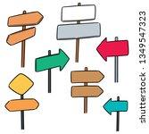 vector set of direction post | Shutterstock .eps vector #1349547323