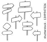 vector set of direction post | Shutterstock .eps vector #1349547326