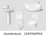 Realistic bathroom collection template. White clean toilet, bowl, sink, washroom basin. Mockup of toilet and sink for Modern bathroom interior. Vector Illustration