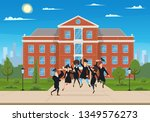 happy graduates jump and... | Shutterstock .eps vector #1349576273
