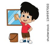 kid help their parents to clean ... | Shutterstock .eps vector #1349597003