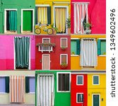 colorful buildings in burano... | Shutterstock . vector #1349602496