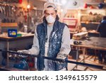 male carpenter working on old... | Shutterstock . vector #1349615579