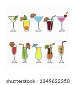 alcoholic cocktails hand drawn... | Shutterstock .eps vector #1349622350
