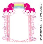 frame with a pink unicorns | Shutterstock .eps vector #1349630513