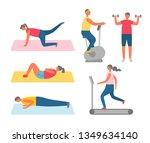 men and women doing sport and... | Shutterstock .eps vector #1349634140