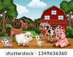 Cartoon Farm Scene With A Barn...
